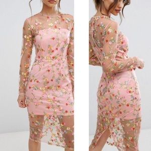 PLT | Ireenah Embroidered Floral Sheer Lace Midi